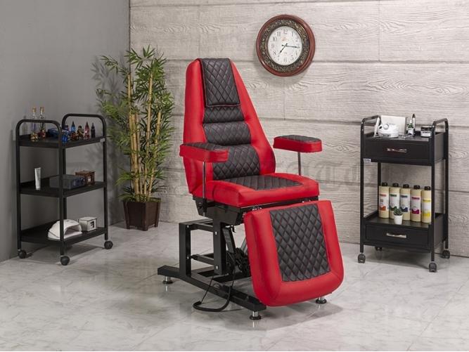Elegance-3 Motorlu Dövmeci Koltuğu | Kırmızı - Siyah