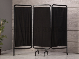 3 Kanatlı Paravan Perde | Siyah - Oval