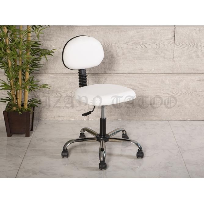 Amortisörlü Dövmeci Çalışma Sandalyesi   Beyaz - Kromajlı Ayak