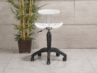 Amortisörlü Dövmeci Çalışma Sandalyesi | Plastik Oturaklı - Beyaz - Plastik Ayak
