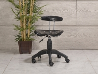 Dizayn Arkalıklı Amortisörlü Dövmeci Sandalyesi (Krom Ayak)