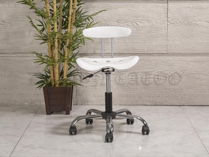 Amortisörlü Dövmeci Çalışma Sandalyesi | Plastik Oturaklı - Beyaz - Kromajlı Ayak
