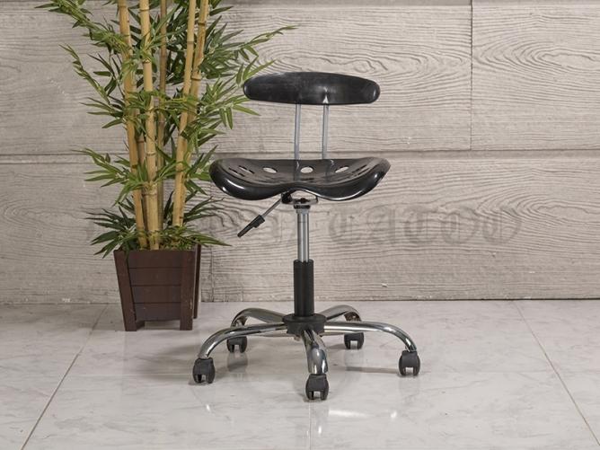 Amortisörlü Dövmeci Çalışma Sandalyesi | Plastik Oturaklı - Siyah - Kromajlı Ayak