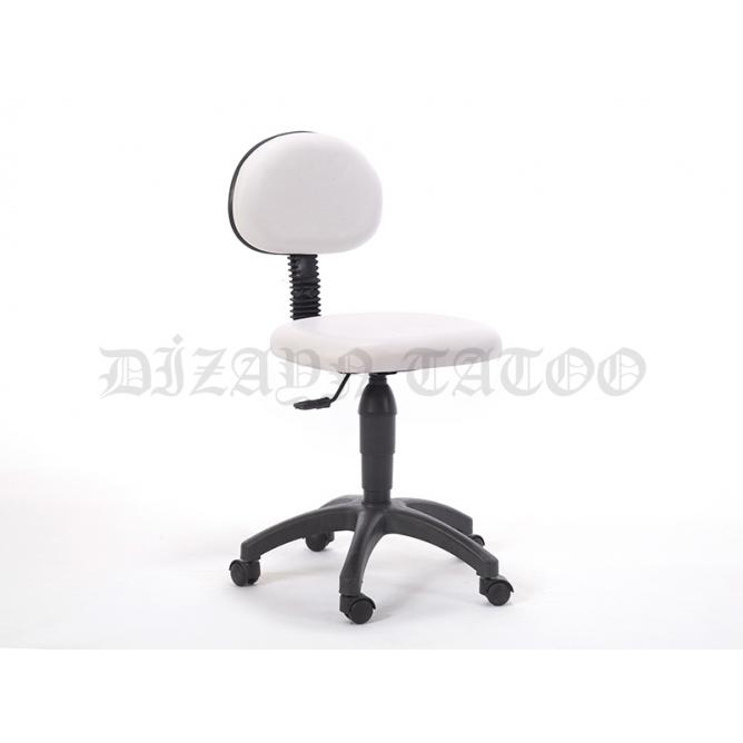 Amortisörlü Dövmeci Çalışma Sandalyesi | Beyaz - Plastik Ayak
