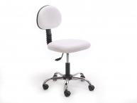 Amortisörlü Dövmeci Çalışma Sandalyesi | Beyaz - Kromajlı Ayak